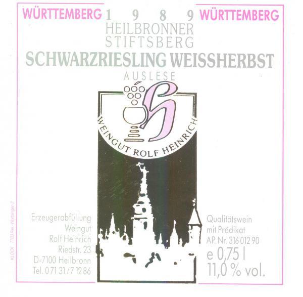 1989 Schwarzriesling Weissherbst Auslese 0,75 L - Weingut Rolf Heinrich