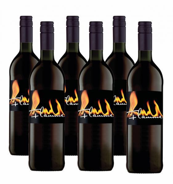 6 x Glühwein Flamme ROT 0,75 L - Bottwartaler Winzer